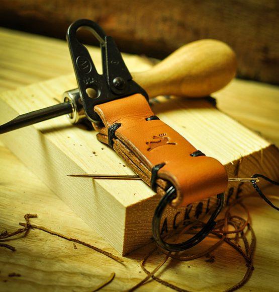 skórzany brelok jackalope leather keychain
